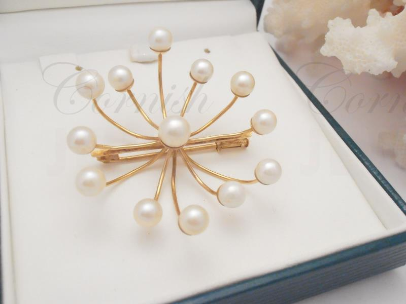 14ct Gold Pearl Brooch Spray Antique Vintage Jewellery