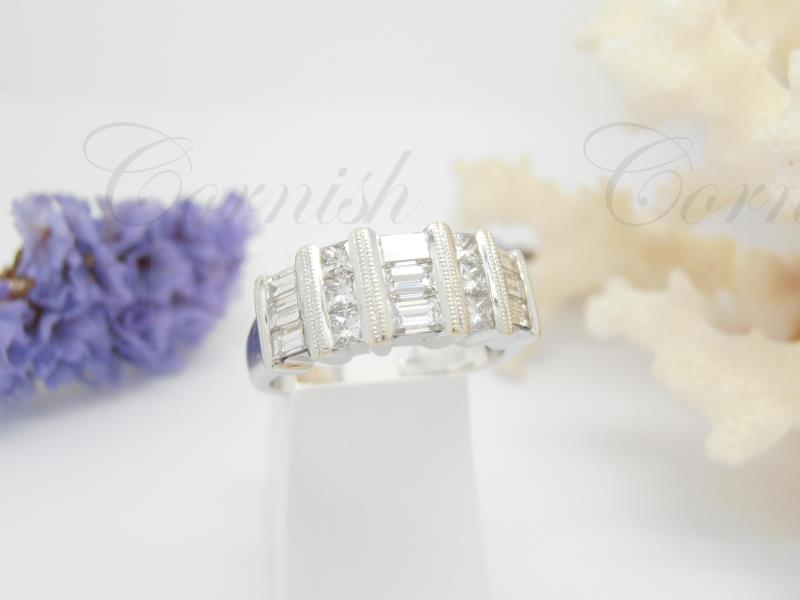 18ct White Gold Princess Diamond Baguette Ring