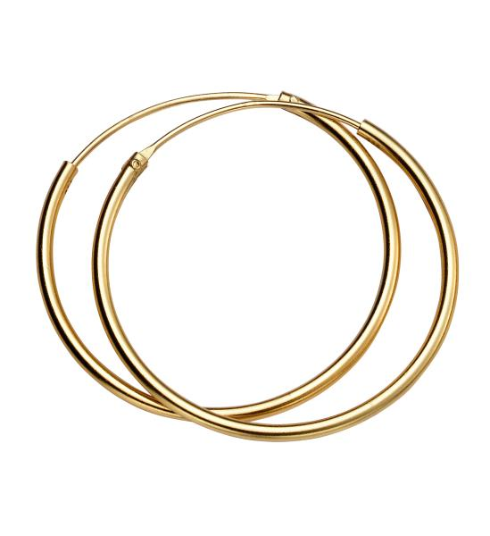 30Mm X 1.5Mm Hoops Yellow Gold Plate