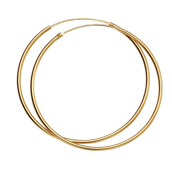 50Mm X 1.5Mm Hoops Yellow Gold Plate