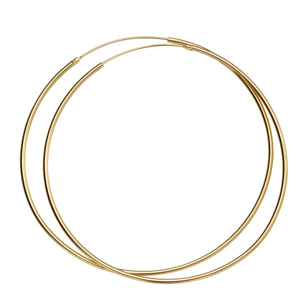 70Mm X 1.5Mm Hoops Yellow Gold Plate