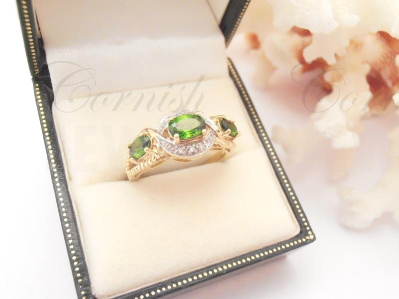 9ct Gold Chrome Diopside Diamond Ring