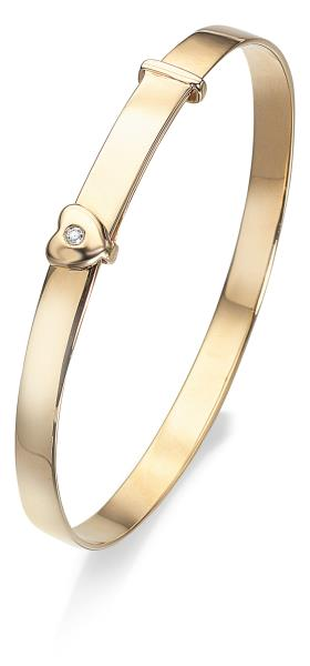 9ct Gold D For Diamond Heart Baby Bangle