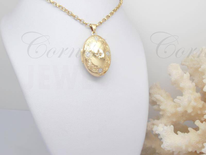 9ct Gold Diamond Locket & Belcher Chain