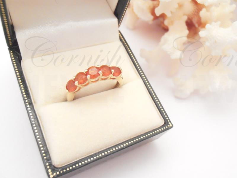 9ct Gold Fire Opal Eternity Ring Size O