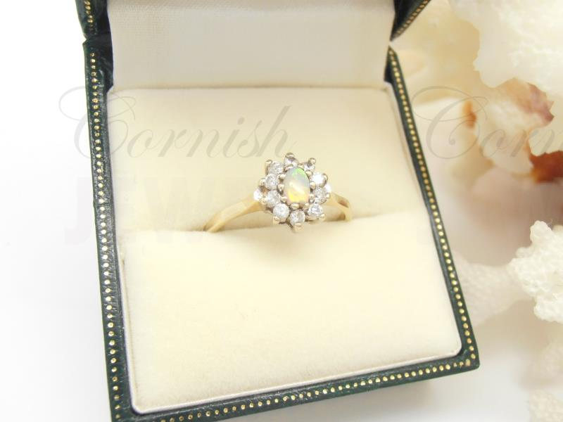9ct Gold Opal & CZ Cluster Ring