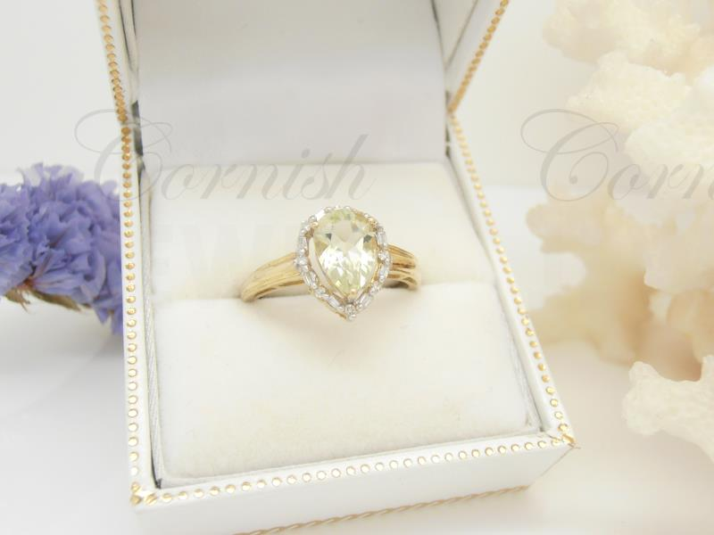 9ct Gold Pear Green Quartz Diamond Ring