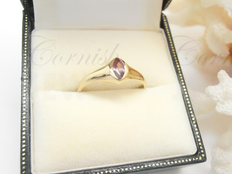 9ct Gold Pink Tourmaline Ring Marquise Shape