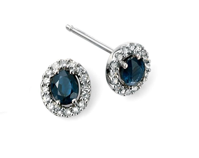 9ct White Gold Blue Sapphire And Diamond Cluster Earrings