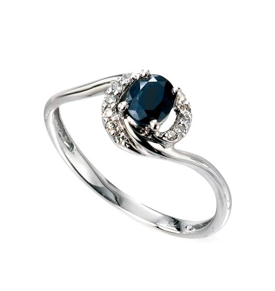 9ct White Gold Blue Sapphire And Diamond Twisted Ring