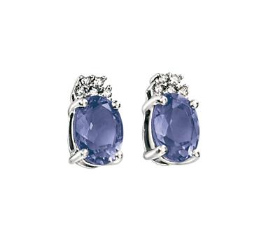 9ct White Gold Diamond And Iolite Earrings