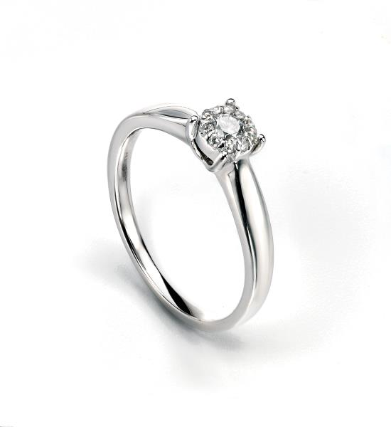 9ct White Gold Diamond Cluster Ring