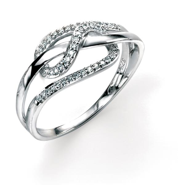 9ct White Gold Diamond Loopy Ring