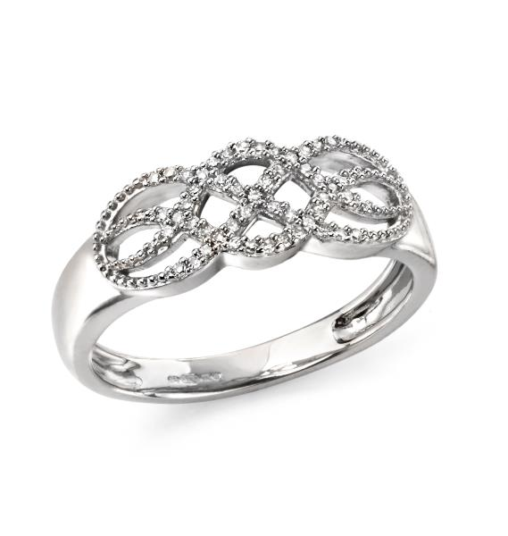 9ct White Gold Diamond Open Pattern Ring