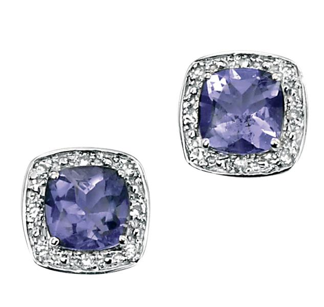 9ct White Gold Earrings With Cushion Cut  Iolite With Pave Diamond Surround