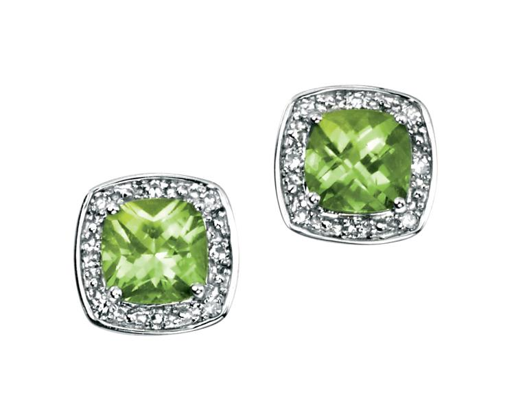 9ct White Gold Earrings With Cushion Cut Peridot With Pave Diamond Surround