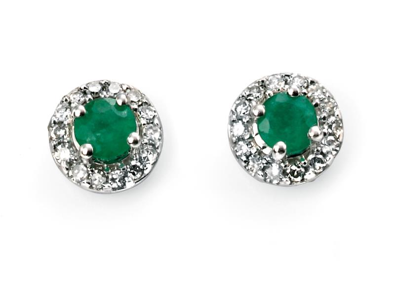 9ct White Gold Emerald Round Earrings With Diamond Edge