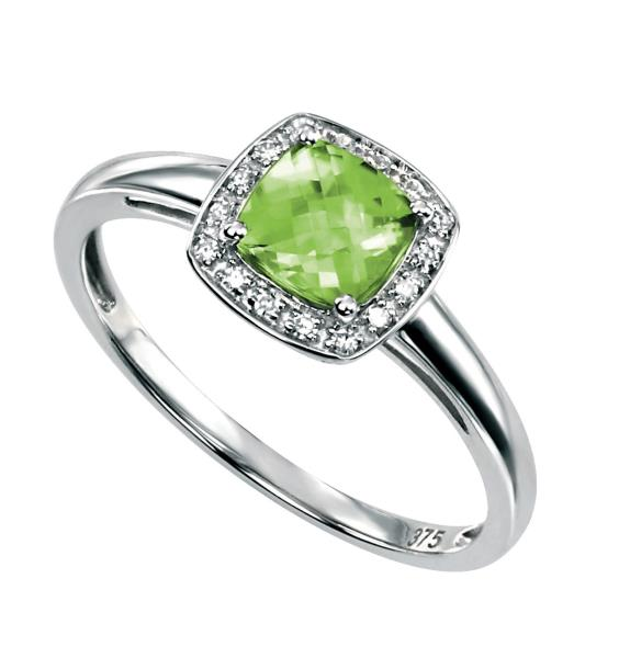 9ct White Gold Ring With Cushion Cut Peridot With Pave Diamond Surround
