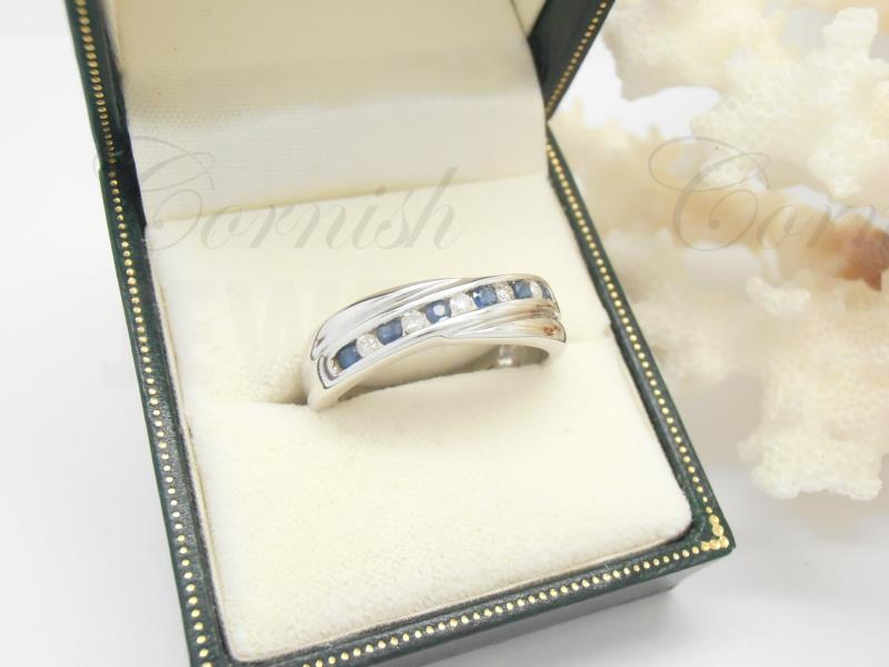 9ct White Gold Sapphire & Diamond Wedding Ring