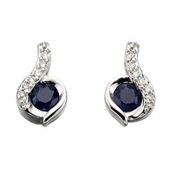 9ct White Gold Swirl Blue Sapphire And Diamond Earrings