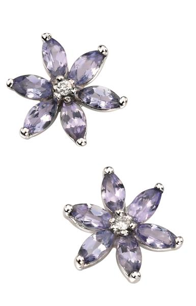 9ct White Gold Tanzanite And Diamond Flower Stud Earrings