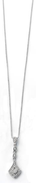 9ct White Gold Vintage Drop Pendant With Diamonds