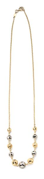 9ct Yellow And White Gold Textured Ball Necklace