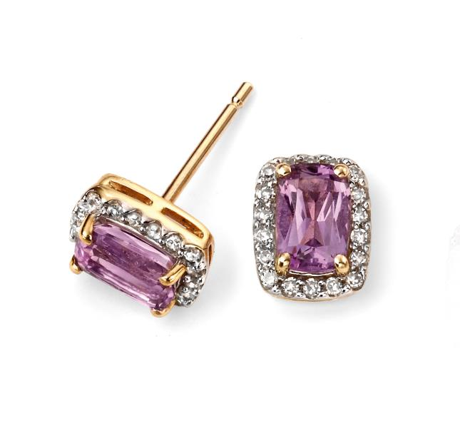 9ct Yellow Gold And Amethyst Cushion Earrings