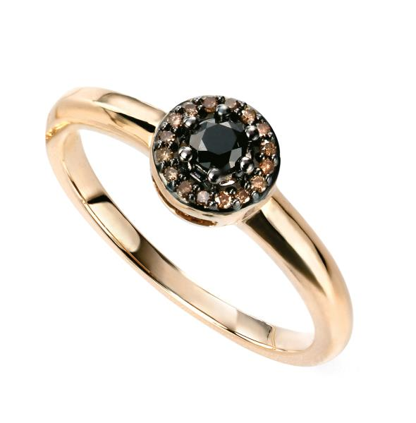 9ct Yellow Gold Brown And Black Diamond Cluster Ring