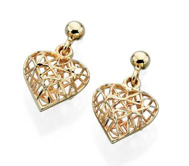 9ct Yellow Gold Caged Heart Stud Earrings