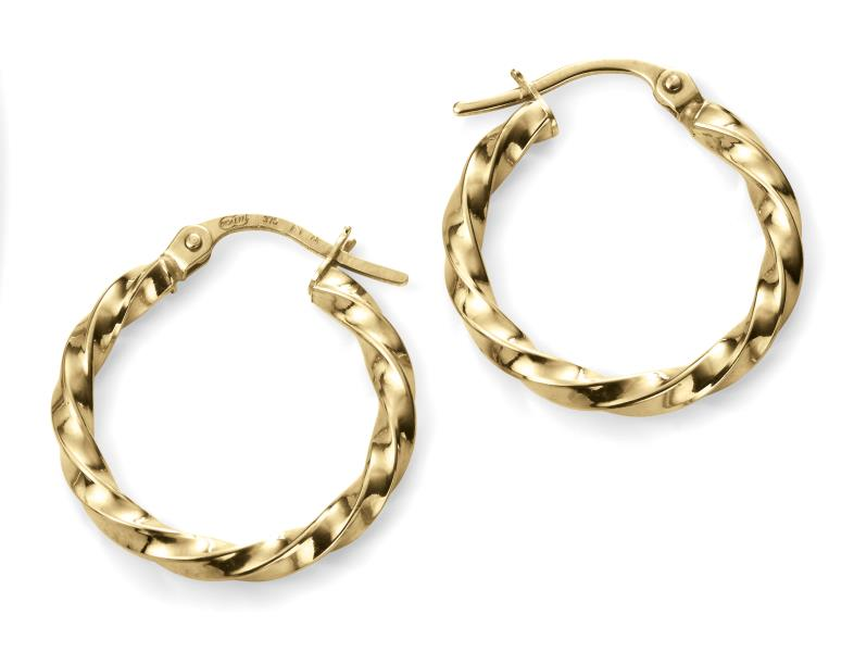 9ct Yellow Gold Chunky Twisted Hoop Earrings