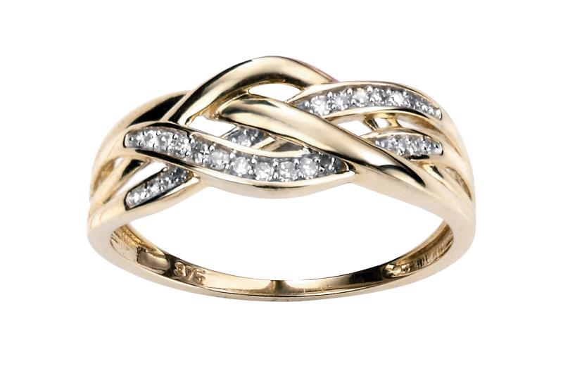9ct Yellow Gold Diamond 3 Strand Criss-Cross Ring