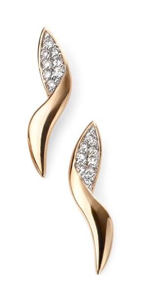 9ct Yellow Gold Diamond Pave Swirl Stud Earrings