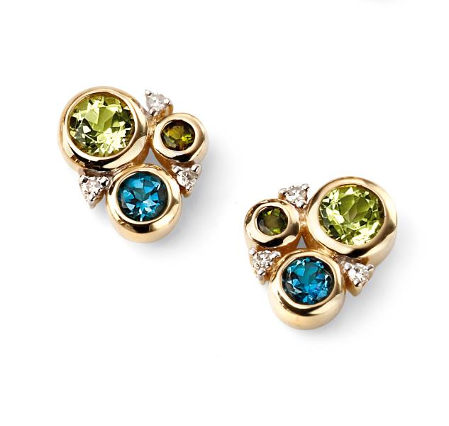 9ct Yellow Gold Diamond, Peridot, London Blue Topaz And Green Tourmaline Circle Stud Earrings