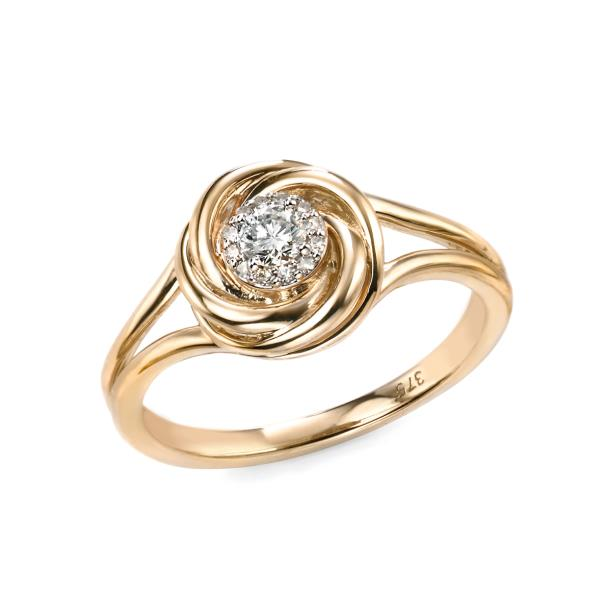 9ct Yellow Gold Diamond Swirl Ring