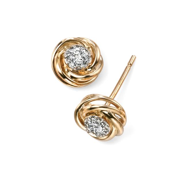 9ct Yellow Gold Diamond Swirl Stud Earrings