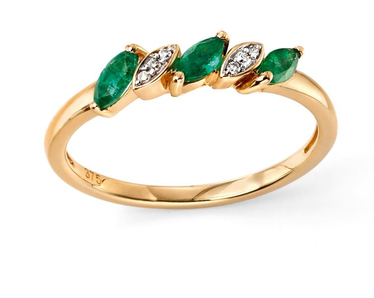 9ct Yellow Gold Emerald And Diamond Marquise Ring