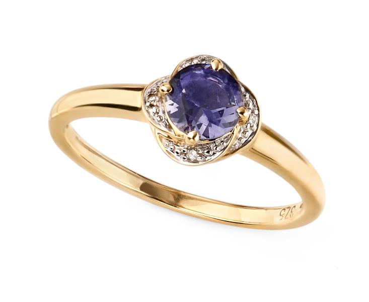 9ct Yellow Gold Iolite Flower Ring