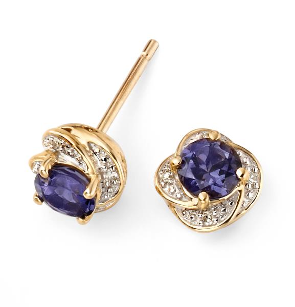 9ct Yellow Gold Iolite Flower Stud Earrings