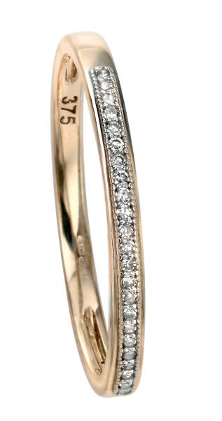 9ct Yellow Gold Pave Set Diamond Ring