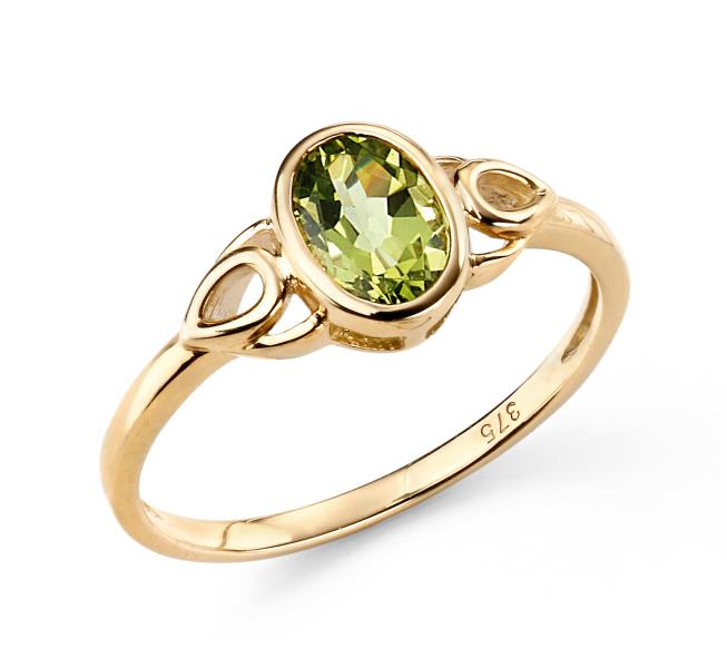 9ct Yellow Gold Peridot Celtic Style Ring