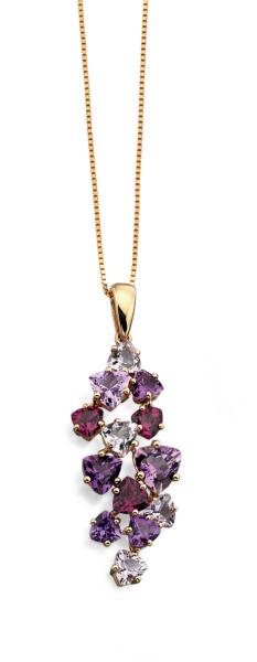 9ct Yellow Gold Rose De France Amethyst, Amethyst And Brazilian Garnet Pendant