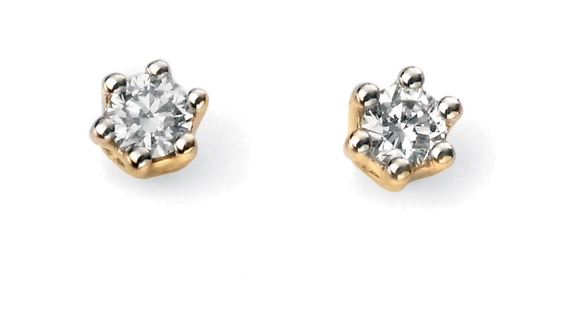 9ct Yellow Gold Solitaire 0.10Ct Diamond Earrings