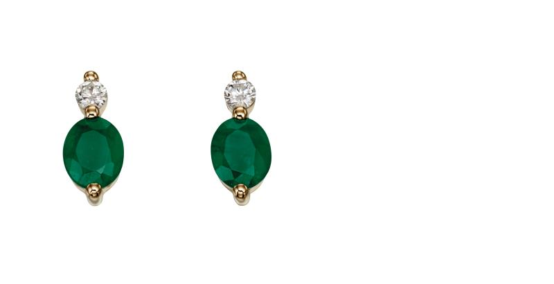 9ct YG Emerald And Diamond EARRINGs
