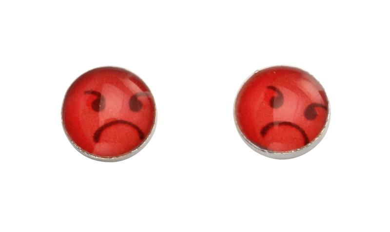 Angry Face Emoji Silver Stud Earrings