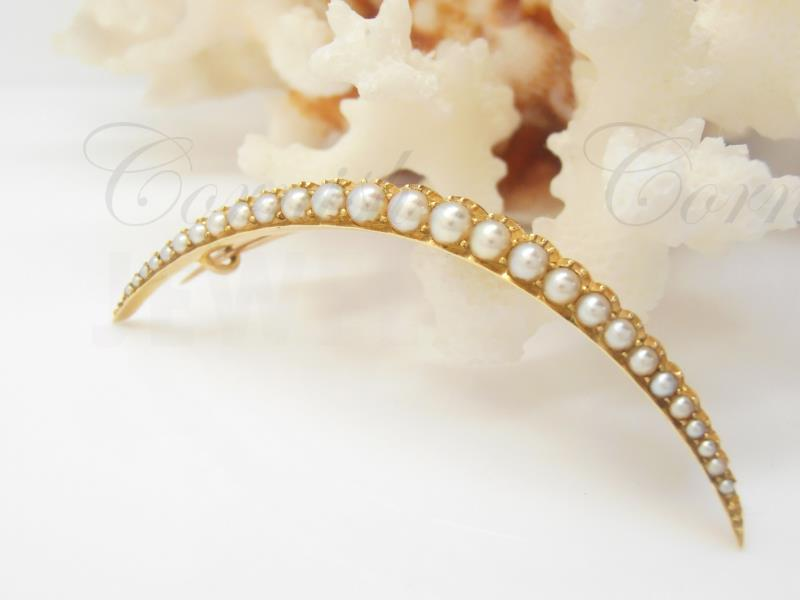 Antique Gold Half Crescent Pearl Brooch