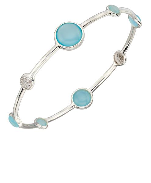 Bangle With Blue Agate And Pave CZ