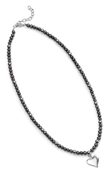 Black Freshwater Pearl Heart 41+5Cm Necklace
