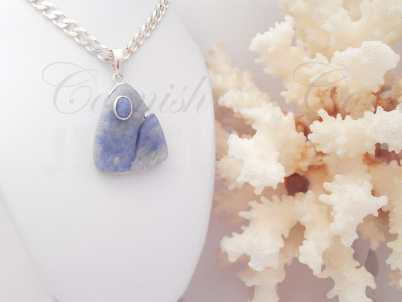 "Blue Agate Silver Pendant Necklace 20"" Curb"