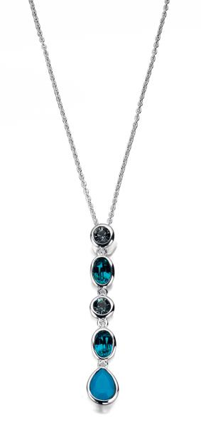 Blue Swarovski Crystal/Opal 41+5Cm Necklace